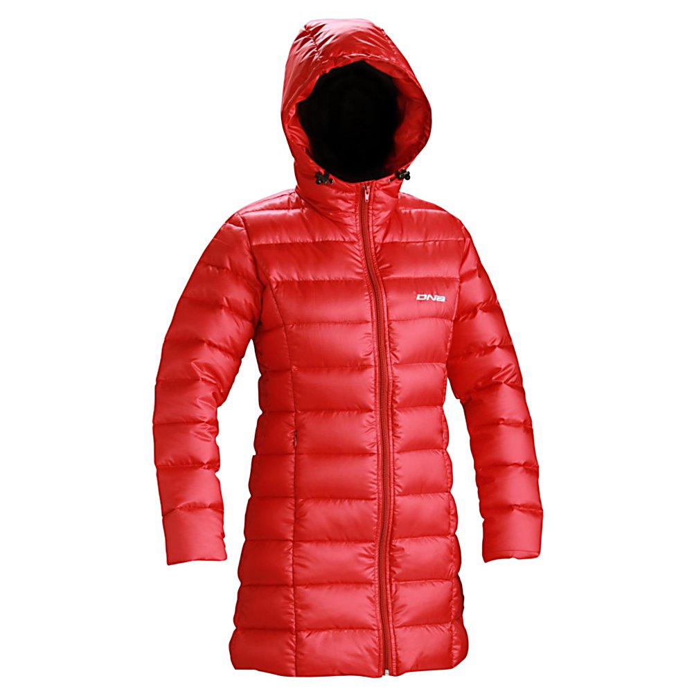 Ski DNA Erika Long Length Womens Jacket - The longer length that this DNA jacket has been designed with will provide more protection in blocking the winds, the colder temperatures and any moisture trying to make its way to your core. This eye catching and stylish Erika Long Length Jacket has a down, DWR ripstop fabric combination that will keep you warm all day long, no matter what the weather conditions are from one moment to the next. There are two front zippered pockets to keep your items safe and secure, and one full front zipper for easy in and out access as you ski from the slopes, to the lodge and out to the slopes again. The longer length also keeps snow out while also providing additional cushion for the tushie if you are a beginner skier or boarder. DNA has done it again with a smart, stylish and highly functional jacket to suit all of your outdoor and winter needs from one season to the next. . Exterior Material: DWR ripstop, Insulation Weight: 600 Fill Down, Taped Seams: None, Waterproof Rating: N/A, Breathability Rating: N/A, Pockets: 1-3, Warranty: One Year, Use: Outdoor, Battery Heated: No, Race: No, Type: Insulated, Cut: Regular, Length: Long, Insulation Type: Down, Waterproof: Not Specified, Breathability: Not Specified, Waterproof Zippers: No, Wind Protection: No, Insulator: Yes, Model Year: 2013, Product ID: 272563 - $99.95