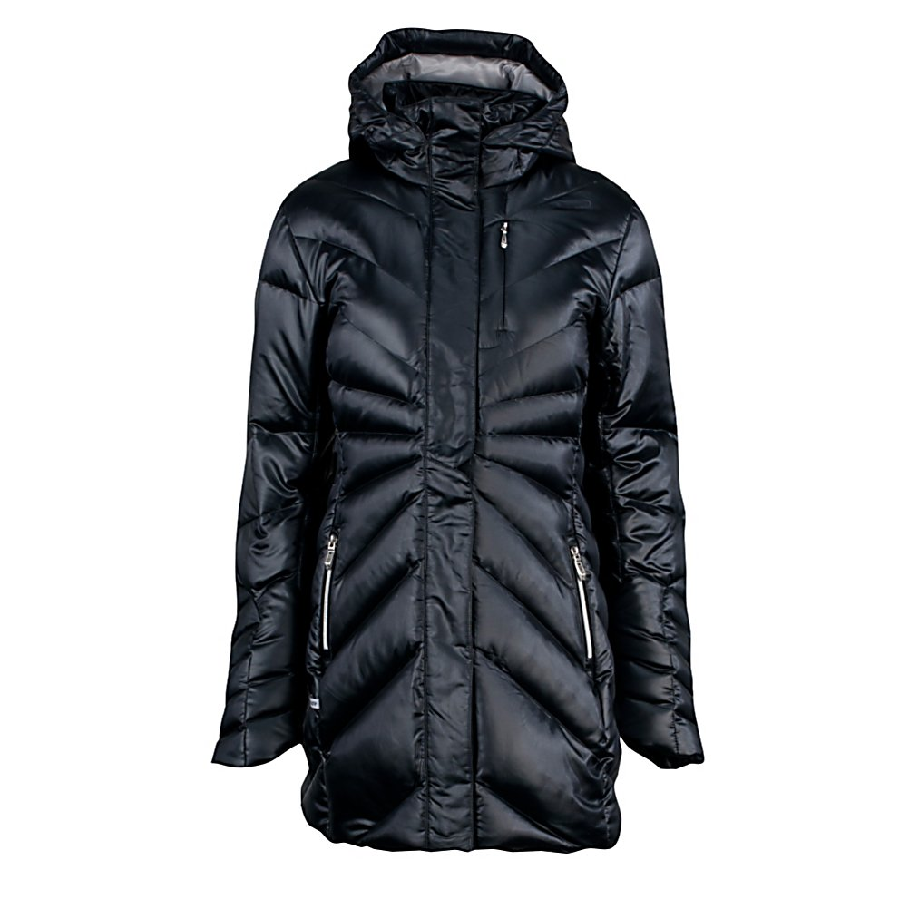 Ski Spyder Raven Down Womens Jacket - The Spyder Raven Down Jacket is a sleek and feminine look that is enhanced by a longer silhouette that will keep you extra warm. The confident chrome teeth on the exposed hand warmer zippers look cook and are extremely durable. Having a lofty 550 fill power down insulation ups the warmth factor on this fashion forward piece. The dramatic lines on The Raven Jacket add to the detail and originality bringing this jacket to the forefront of style. Features: Two-way center front zipper. Exterior Material: Polyester, Insulation Weight: 550 Fill, Taped Seams: None, Waterproof Rating: DWR Treatment, Breathability Rating: N/A, Pit Zip Venting: No, Pockets: 1-3, Hood: Yes, Warranty: Lifetime, Use: Outdoor, Battery Heated: No, Race: No, Type: Insulated, Cut: Regular, Length: Long, Insulation Type: Down, Waterproof: Water Resistant (1000mm), Breathability: Not Specified, Wrist Gaiter: Yes, Waterproof Zippers: No, Wind Protection: No, Insulator: No, Model Year: 2013, Product ID: 286865 - $239.00