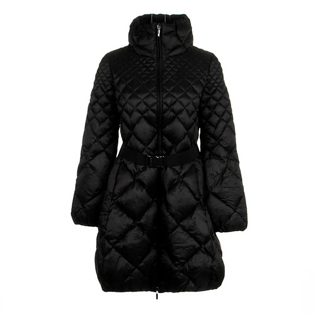 Ski Moncler Bourdon Womens Jacket - The Moncler Bourdon Womens Jacket is a feather down coat featuring a gradient quilting and a funnel neck with a reversible zipper that offers an exciting look and wraps you in extreme warmth. The belt with a designer embossed clip fastening adds more detail to this complete jacket. The two concealed zipped pockets can hold your stuff and the elasticized hem gives you additional closure at the bottom of your jacket keeping the warmth in. Moncler has become famous for its quilted jackets, ski and outdoor-wear as they offer originality. Moncler uses duck down in their collections that are warm, light weight and reduce bulk for the ultimate in comfort and the amazing one of a kind look. . Exterior Material: Polyamide, Insulation Weight: Not Specified, Taped Seams: Critically Taped, Waterproof Rating: N/A, Breathability Rating: N/A, Pockets: 1-3, Warranty: Other, Use: Outdoor, Battery Heated: No, Race: No, Type: Insulated, Cut: Regular, Length: Medium, Insulation Type: Down, Waterproof: Not Specified, Breathability: Not Specified, Cuff Type: Elastic, Wrist Gaiter: No, Waterproof Zippers: No, Wind Protection: No, Cinch Cord Bottom: Yes, Insulator: No, Model Year: 2013, Product ID: 290709 - $999.95