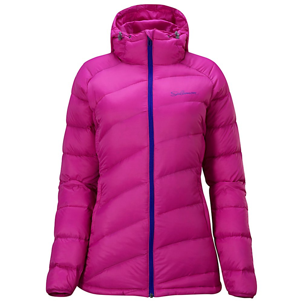 Ski Salomon Minim Down Womens Jacket - A lightweight and cozy option for your cold weather outdoor activities, the Salomon Minim Down Hoodie will keep you warm and comfortable. Designed with the highly breathable ClimaWind fabrics you'll have excellent protection when the winds kick up. To ensure that you stay very warm, the Minim Down Hoodie has Eldeven Down which is lightweight and very warm. You'll have the option of using the hood when you really want to block out the cold and wind and two hand zipped pockets as well. Packable and reliable, the Salomon Minim Down Hoodie will be your best friend when you want to stay active in the chilly weather. . Exterior Material: ClimaWind Fabrics, Insulation Weight: Down Eldeven 90/10, Taped Seams: None, Waterproof Rating: N/A, Breathability Rating: N/A, Hood Type: Fixed, Pit Zip Venting: No, Pockets: 1-3, Electronics Pocket: No, Goggle/Sunglasses Pocket: No, Powder Skirt: No, Bearing Grade: Performance, Hood: Yes, Warranty: Three Year, Use: Outdoor, Battery Heated: No, Race: No, Type: Insulated, Cut: Regular, Length: Medium, Insulation Type: Down, Waterproof: Not Specified, Breathability: Not Specified, Cuff Type: Elastic, Wrist Gaiter: No, Waterproof Zippers: No, Wind Protection: Yes, Cinch Cord Bottom: No, Insulator: No, Model Year: 2013, Product ID: 291496, Model Number: 30916929, GTIN: 0080694312399 - $79.92