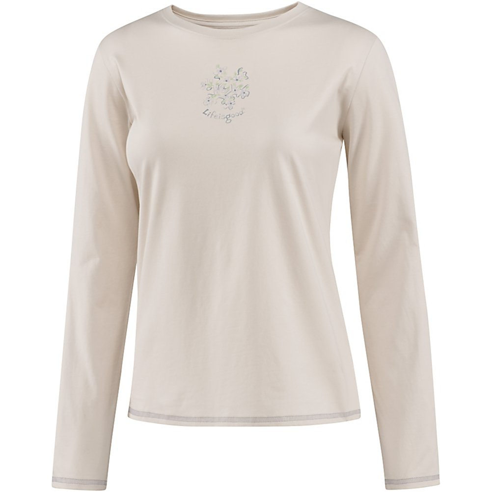 Ski Life Is Good Sleep Long Sleeve Delightful Snowflake Womens Shirt - When you wear the Delightful Snowflake Sleep Tee by Life is Good, you will be comfy, cozy and warm every night! You may feel like your dreaming while wearing this 100% cotton and lightweight, soft sleep tee but wake up! It's real stylish and comfortable and will as you wipe your eyes in the morning you'll remember that Life is Good! . Hood Type: None, Hood: No, Warranty: Lifetime, Type: Crew/Mock Top, Wind Protection: No, Pockets: None, Wicking Properties: No, Type: Long Sleeve, Water Resistant: No, Model Year: 2013, Product ID: 269512, Material: Cotton, Type: Tees, Battery Heated: No, Category: Light-Weight, Fleece Weight: None, Material: 100% Cotton - $30.00