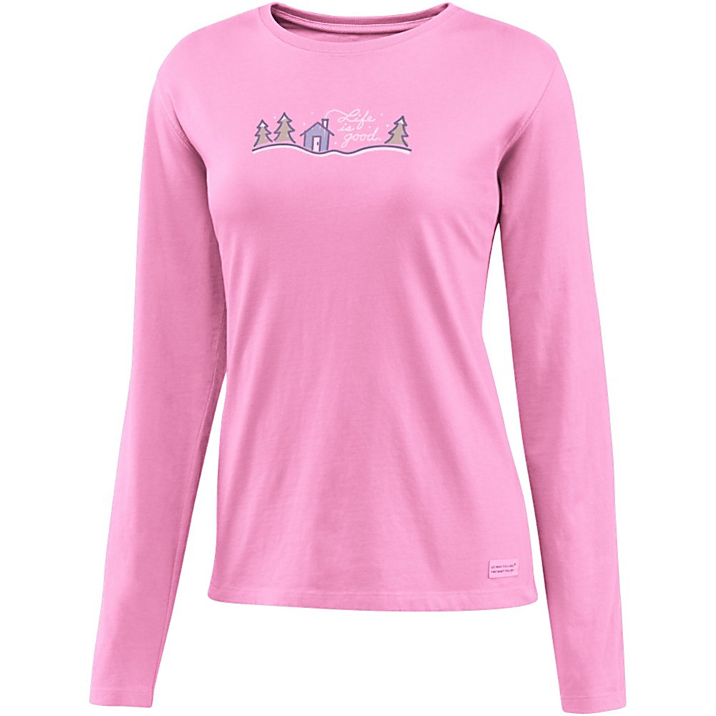 Ski Life Is Good Crusher Snow Script Cabin Womens Shirt - Are you looking for relaxed comfort and warmth? The Crusher is made with100% cotton and has a signature softness that you will be sure to enjoy. Life is Good created this with a slight waist shape, ribbing at the neck, and narrower cuff and hem, all to maintain this feminine touch. This is a great shirt to lounge around in or even to layer under your outer gear. . Hood Type: None, Material: 100% Cotton, Fleece Weight: None, Category: Light-Weight, Hood: No, Warranty: Lifetime, Battery Heated: No, Type: Crew/Mock Top, Wind Protection: No, Type: Tees, Material: Cotton, Pockets: None, Wicking Properties: No, Type: Long Sleeve, Water Resistant: No, Model Year: 2013, Product ID: 269536 - $35.00