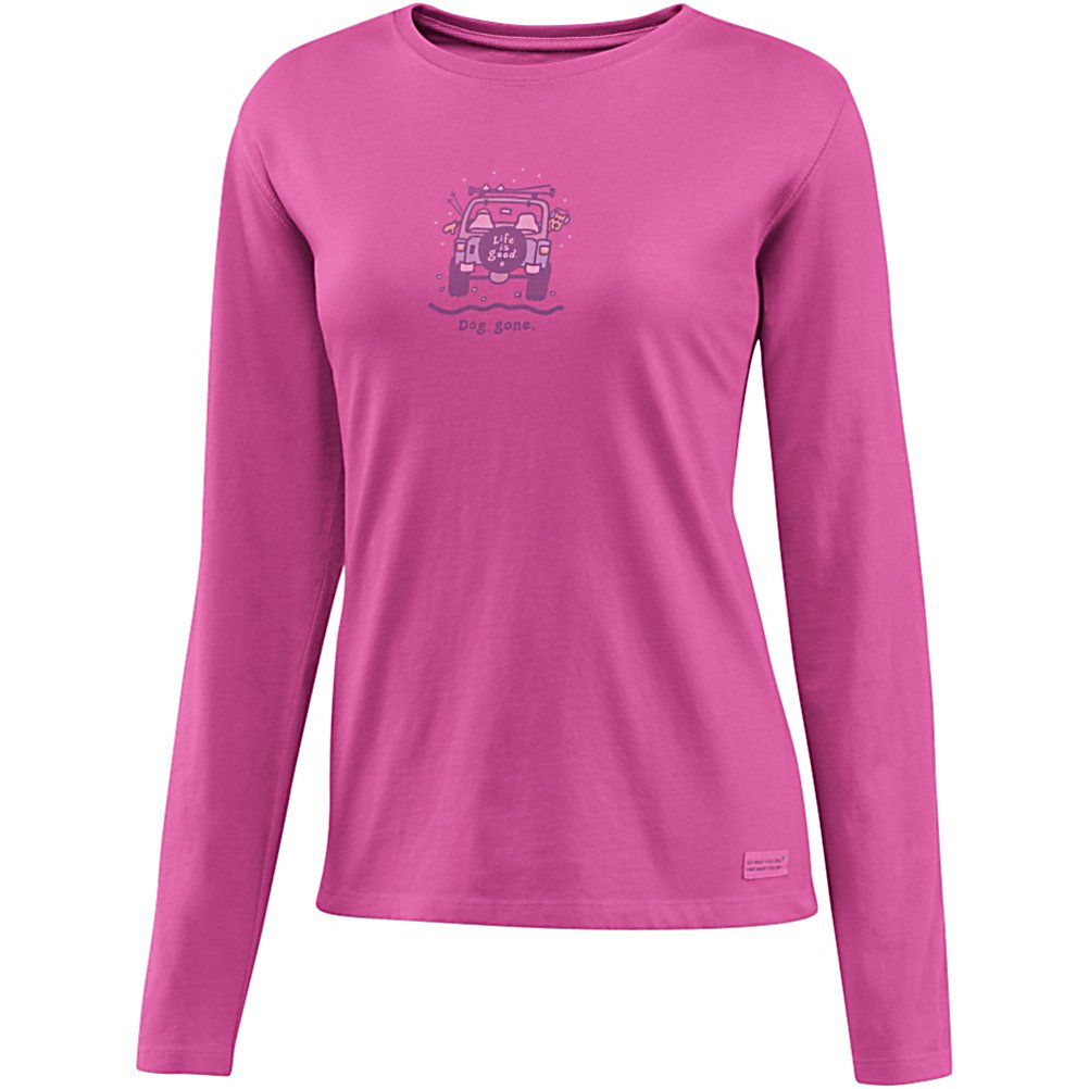 Ski Life Is Good Crusher Dog Gone Off Road Womens Shirt - Are you looking for relaxed comfort and warmth? The Crusher is made with100% cotton and has a signature softness that you will be sure to enjoy. Life is Good created this with a slight waist shape, ribbing at the neck, and narrower cuff and hem, all to maintain this feminine touch. This is a great shirt to lounge around in or even to layer under your outer gear. . Warranty: Other, Type: Crew/Mock Top, Wind Protection: No, Pockets: None, Wicking Properties: No, Type: Long Sleeve, Water Resistant: No, Model Year: 2013, Product ID: 269544, Material: Cotton, Type: Tees, Battery Heated: No, Hood: No, Category: Light-Weight, Fleece Weight: None, Material: 100% Cotton, Hood Type: None - $24.91
