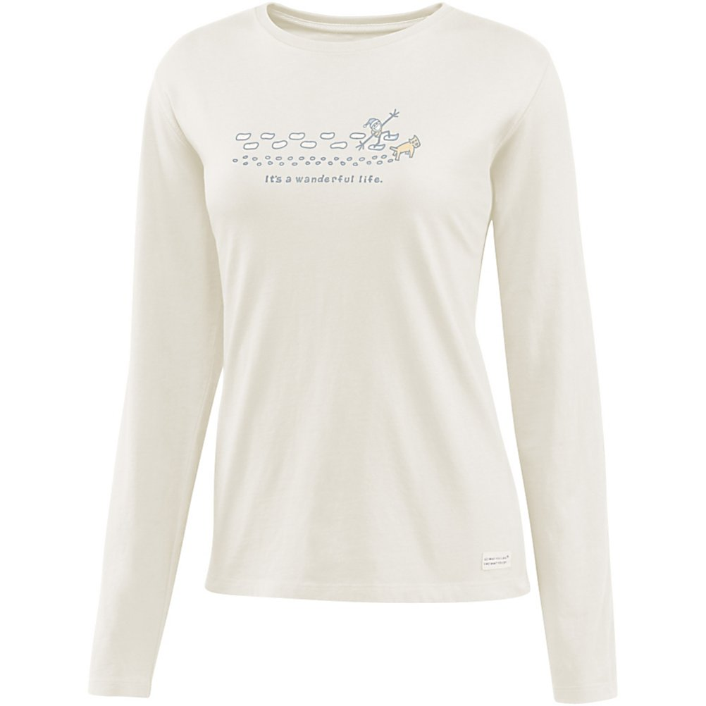 Ski Life Is Good Crusher Wanderful Life Womens Shirt - Are you looking for relaxed comfort and warmth? The Crusher is made with 100% cotton and has a signature softness that you will be sure to enjoy. Life is Good created this with a slight waist shape, ribbing at the neck, and narrower cuff and hem, all to maintain this feminine touch. This is a great shirt to lounge around in or even to layer under your outer gear. . Hood Type: None, Material: 100% Cotton, Fleece Weight: None, Category: Light-Weight, Hood: No, Warranty: Lifetime, Battery Heated: No, Type: Crew/Mock Top, Wind Protection: No, Type: Tees, Material: Cotton, Pockets: None, Wicking Properties: No, Type: Long Sleeve, Water Resistant: No, Model Year: 2013, Product ID: 269552 - $35.00