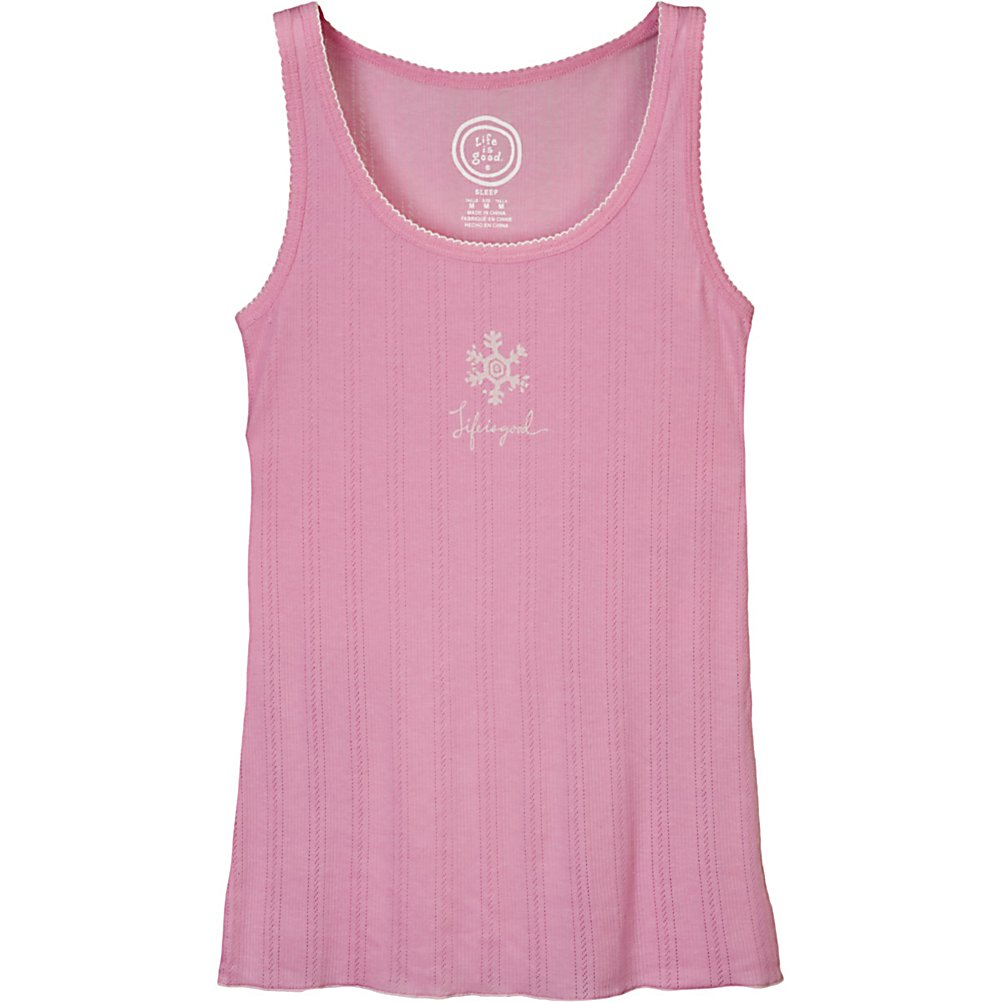 Ski Life Is Good Snowflake Sleep Womens T-Shirt - Just because it's getting warm out doesn't mean you don't want to fall asleep comfortably. The Life is Good Snowflake Sleep Tank is comfortable and cozy made of 60% Cotton and 40% Poly. Designed with a Ribbed Pointelle Scoop Neck and Contrast Picot Edge at neck and armholes, you'll have a comfortable fitted tank made with the female form in mind. Dreamy soft and comfy, the Snowflake Sleep Tank will have you thinking that Life is Good. Features: Contrast Lettuce Edge Hem. Material: 60% Cotton, 40% Poly, Battery Heated: No, Type: Tees, Weatherproof: No, Material: Cotton, Model Year: 2012, Product ID: 227849 - $14.99