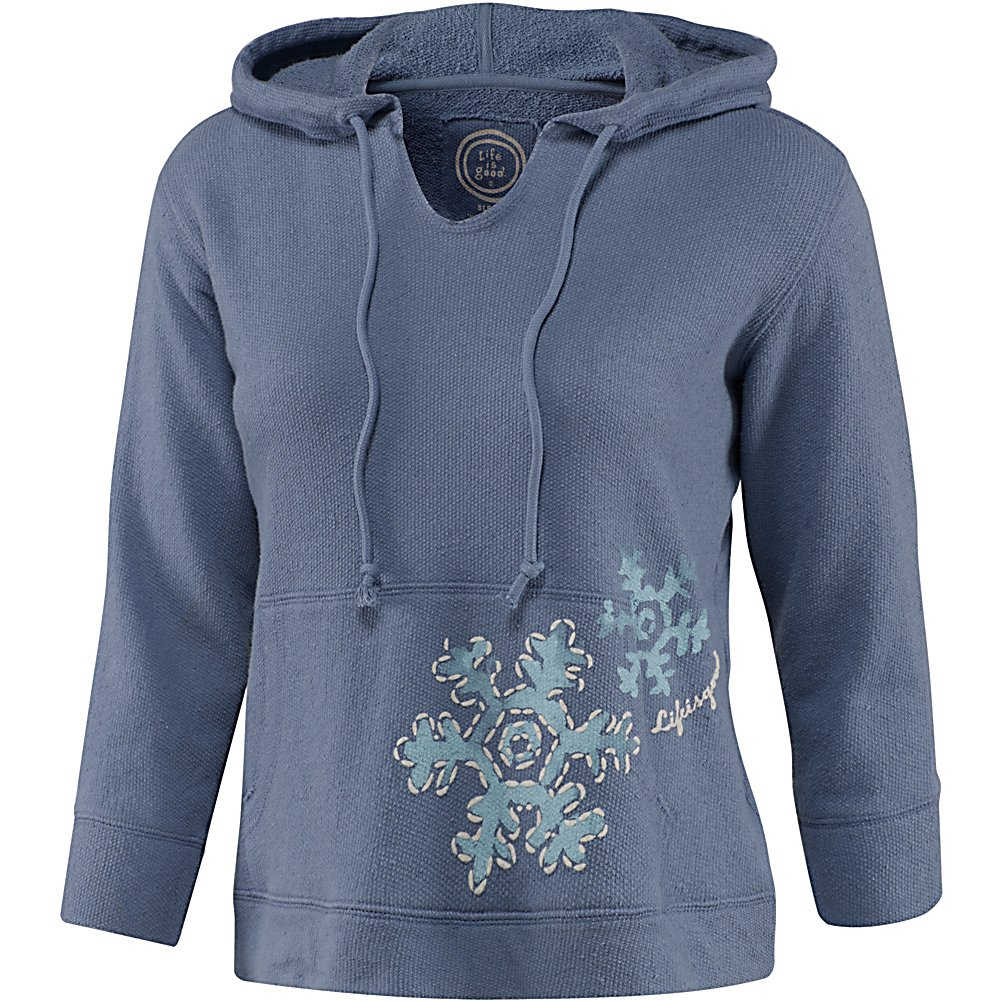 Ski Life Is Good 3/4 Sleeve Sleep Fresh Snowflake Hoodie Womens Hoodie - While in the fresh snowflake sleep hoodie by Life is Good, it will leave you cozy and warm! This is a great second layer for those chilly nights indoors or out. With this cropped sleeves and a kangaroo like pocket you are sure to look stylish anywhere you go. There is a draw cord on the hood and a cute snowflake design on the front of the pocket area. Features: Raw Edge detailing on kangaroo pocket and front neck opening. Material: 85% Cotton, 15% Polyester, Category: Sleep Wear, Hood: Yes, Warranty: Other, Battery Heated: No, Closure Type: Pull Over, Wind Protection: No, Type: Hoodie, Material: Cotton, Pockets: Yes, Wicking Properties: No, Sleeve Type: Long Sleeve, Water Resistant: No, Model Year: 2013, Product ID: 269520 - $29.95