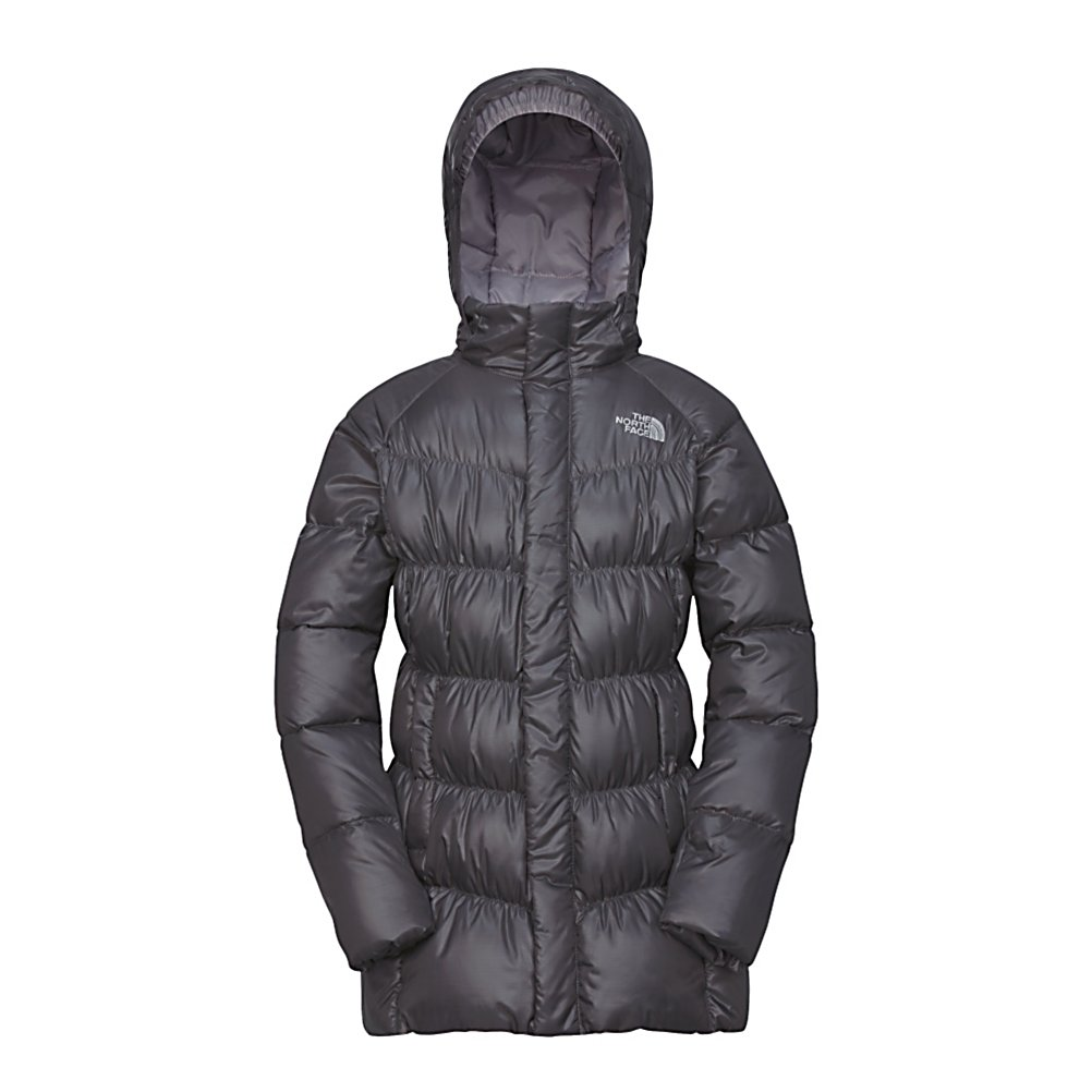 Ski The North Face Transit Down Kids Jacket - The North Face Transit Down Jacket is an ideal transitional jacket to throw on at the lodge or for a trek in freezing conditions, this 550 fill down-insulated coat delivers plush warmth for any outdoor excursion. Resting at top of thigh, this long cut creates an extended cover for added warmth. Removable hood adjusts to variable conditions. This jacket will keep any young lady looking good and warm when playing at school or joining any outdoor activities. Features: ID label, Zip and snap front closure . Exterior Material: Polyester, Softshell: No, Insulation Weight: 550 Fill, Taped Seams: Critically Taped, Waterproof Rating: N/A, Breathability Rating: N/A, Pit Zip Venting: No, Pockets: 1-3, Electronics Pocket: No, Goggle/Sunglasses Pocket: No, Powder Skirt: No, Hood: Yes, Warranty: Lifetime, Use: Street, Battery Heated: No, Race: No, Rain Jacket: No, Type: Insulated, Cut: Regular, Length: Long, Tall: No, Insulation Type: Down, Waterproof: Not Specified, Breathability: Not Specified, Cuff Type: None, Wrist Gaiter: No, Waterproof Zippers: Yes, Wind Protection: No, Cinch Cord Bottom: No, Model Year: 2013, Product ID: 228856, Shipping Restriction: This item is not available for shipment outside of the United States. - $129.95