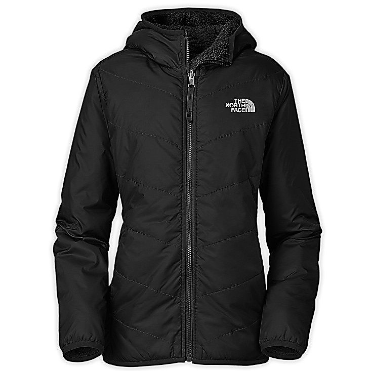 Ski The North Face Reversible Perseus Kids Jacket - The North Face Reversible Perseus Jacket is perfect for skiing, cold weather hikes, to campfire lounging, this reversible winter jacket keeps girls covered with choices. Designed with a durable nylon taffeta exterior with DWR (durable water repellent), the finish aids with weather-resistance, this fabric is quilted with a curved design throughout the body for a feminine, fun style. Reversing to a luxe Sherpa fleece, this insanely cozy material is amply insulated throughout for wintertime warmth. Features: Welted handwarmer pockets. Exterior Material: Polyester ripstop, Insulation Weight: 60g, Taped Seams: Critically Taped, Pockets: 1-3, Hood: Yes, Warranty: Lifetime, Use: Ski, Battery Heated: No, Race: No, Type: Insulated, Cut: Regular, Length: Medium, Insulation Type: Synthetic, Waterproof: Not Specified, Breathability: Not Specified, Cuff Type: Elastic, Wrist Gaiter: No, Waterproof Zippers: No, Insulator: No, Model Year: 2013, Product ID: 270156, Shipping Restriction: This item is not available for shipment outside of the United States. - $79.19