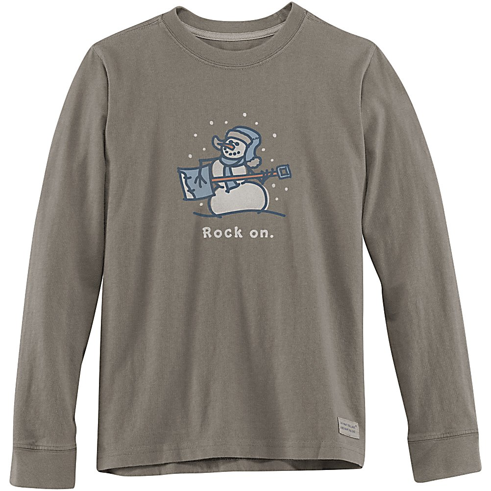 Snowboard Life Is Good Crusher Long Sleeve Rock On Snowman Kids Shirt - For those chilly winter days when you want your child to be comfy and cozy, have them wear the Life is Good Crusher Long Sleeve Rock On Snowboard T-Shirt. With its cool snowman graphic and vintage, weathered look, they will love the way they look in this shirt, and they'll love wearing it. It's made of soft 100% cotton and its double needle stitching ensures that it will last a while in spite of the abuse that a child can take a shirt through. Warm and comfortable, the Life is Good Crusher Long Sleeve Rock On Snowboard T-Shirt is fun and perfect for any day the temperatures are low. . Hood Type: None, Material: 100% Cotton, Fleece Weight: None, Category: Light-Weight, Hood: No, Warranty: Lifetime, Battery Heated: No, Type: Crew/Mock Top, Wind Protection: No, Type: Tees, Material: Cotton, Pockets: None, Wicking Properties: No, Type: Long Sleeve, Water Resistant: No, Model Year: 2013, Product ID: 269508 - $19.91