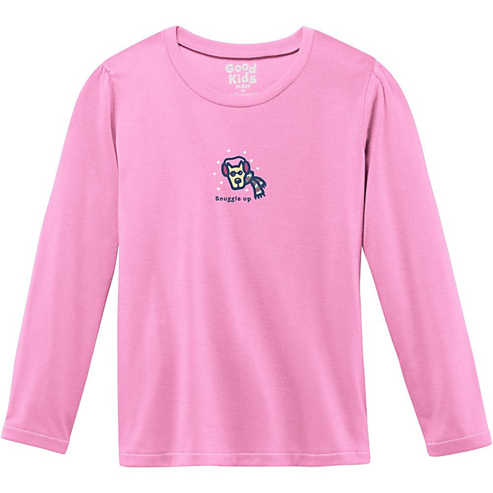 Ski Life Is Good Sleep Tee Long Sleeve Girls Shirt - The Life is Good Sleep Tee Long Sleeve Shirt will keep your little girl cozy warm when she's asleep in her bed. She will never want to get out of bed while wearing this 100% flame resistant poly shirt. With its cute puppy graphic on the front, the little girl in your life will make this one of her favorite long sleeve shirts of all time. . Hood Type: None, Material: 100% Flame Resistant Poly, Fleece Weight: None, Category: Light-Weight, Hood: No, Warranty: Lifetime, Battery Heated: No, Type: Crew/Mock Top, Wind Protection: No, Type: Tees, Material: Synthetic, Pockets: None, Wicking Properties: No, Type: Long Sleeve, Water Resistant: No, Model Year: 2013, Product ID: 269556 - $19.91