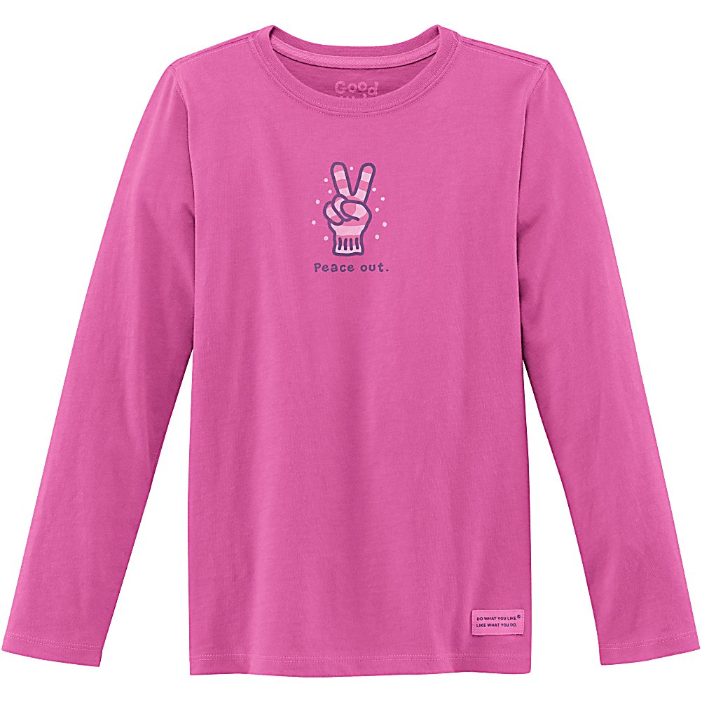 Ski Life Is Good Crusher Long Sleeve Peace Out Glove Girls Shirt - Do you want your little one to stay warm and cozy indoors or out? The Crusher long sleeve tee has a cute stylish look, with signature softness and durability. Your little one will enjoy being comfortable in this tee! Dressing your little girl will remind you that Life is Good! . Hood Type: None, Material: 100% Cotton, Fleece Weight: None, Category: Light-Weight, Hood: No, Warranty: Other, Battery Heated: No, Type: Crew/Mock Top, Wind Protection: No, Type: Tees, Material: Cotton, Pockets: None, Wicking Properties: No, Type: Long Sleeve, Water Resistant: No, Model Year: 2013, Product ID: 269570 - $19.91