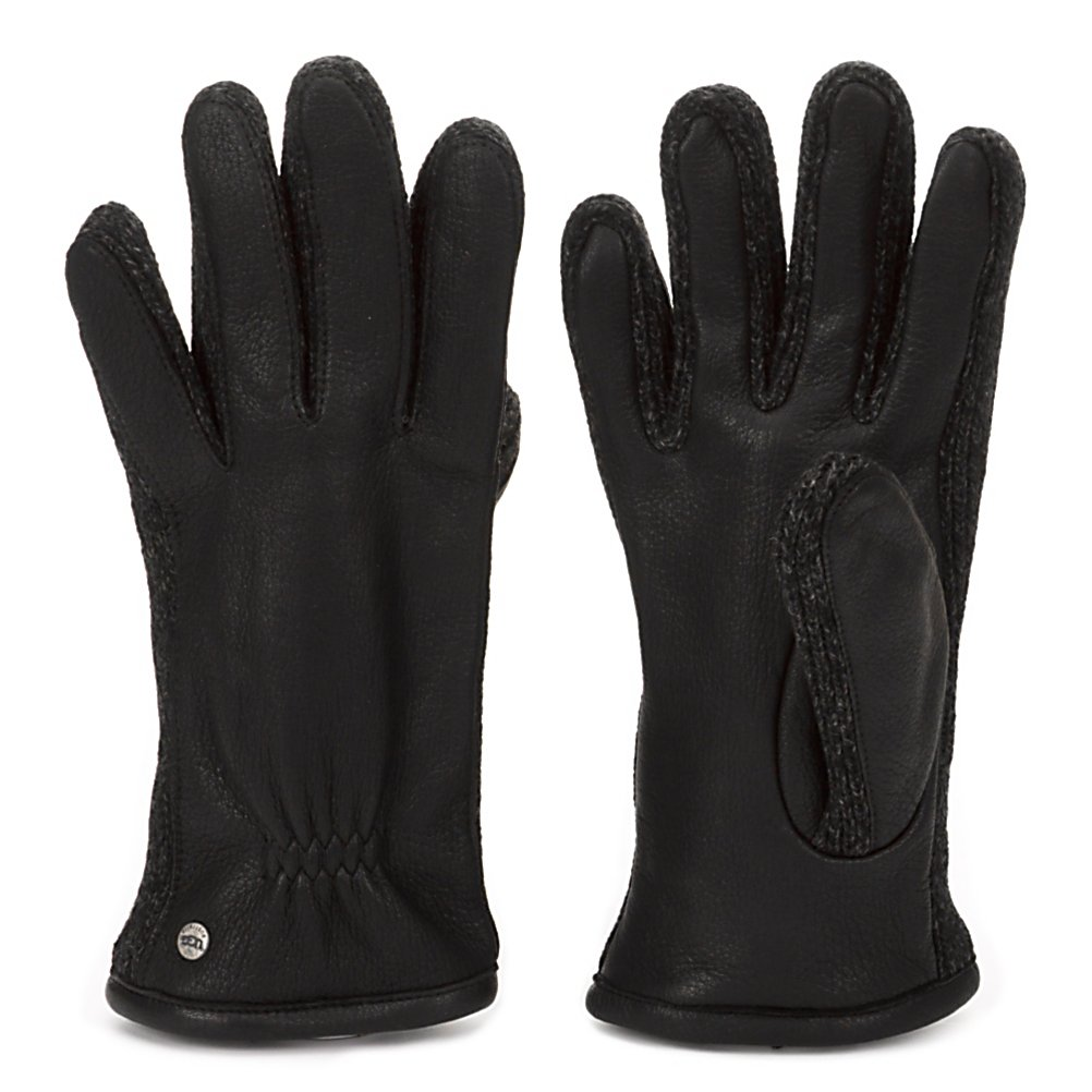 Fitness UGG Australia Leather with Knit Sidewalls Mens Gloves - The UGG Australia Leather Mens Gloves with Knit Sidewalls is stylish and warm so you can look good and feel cozy all winter long. Whether you're out running errands or hailing a cab in the city to get to a meeting, you'll have warm and comfortable hands even as the temperatures dip far below freezing. These gloves offer a Deergrain exterior to help block the cold from nipping at your fingers and ensure that the precipitation stay on the outside. Your warm and dry hands will feel extra comfy against the Fleece-Lined interior too. Lambswool Sidewalls add to the overall comfort and fashion emanating from these luxurious-looking and extremely comfortable pair of UGG Australia Leather Mens Gloves with Knit Sidewalls. . Removable Liner: No, Material: Deergrain Leather, Warranty: One Year, Battery Heated: No, Race: No, Type: Glove, Use: Casual, Wristguards: No, Outer Material: Leather, Waterproof: Yes, Breathable: Yes, Pipe Glove: No, Cuff Style: Under the cuff, Down Filled: No, Touch Screen Capable: No, Model Year: 2013, Product ID: 300125 - $59.95
