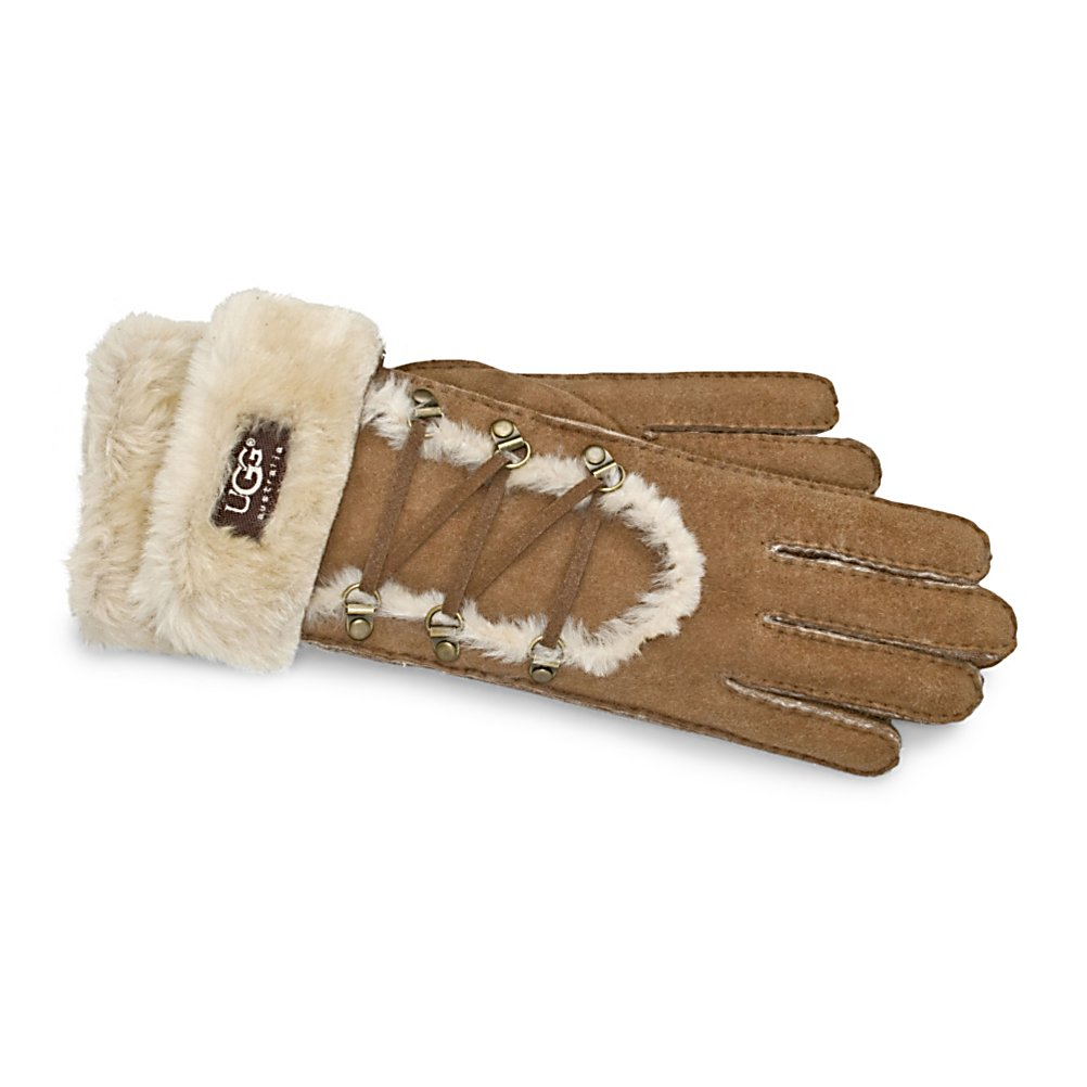 Ski UGG Australia Igloo Womens Gloves - Similar to the style of a moccasin, the Igloo Glove is a great choice for fashionable winter glove. Made by UGG Australia, the Igloo Glove is created with shearling cuffs showing the UGG logo. The zig-zag pattern on the front of the gloved add a nice flare. These UGG Igloo Gloves will be sure to keep you toasty all winter long. . Product ID: 176575, Model Year: 2013, Touch Screen Capable: No, Down Filled: No, Cuff Style: Over the cuff, Pipe Glove: No, Breathable: No, Waterproof: No, Outer Material: Shearling, Wristguards: No, Use: Casual, Type: Glove, Race: No, Battery Heated: No, Warranty: One Year, Material: Shearing, Removable Liner: No - $99.95