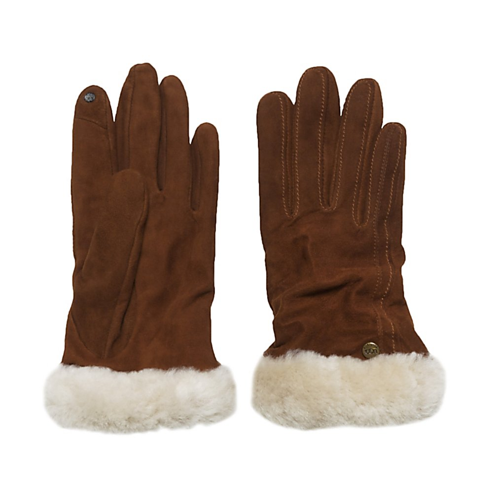 Fitness UGG Australia Classic Suede Smart Womens Gloves - The UGG Australia Classic Suede Smart Womens Gloves are a great way to keep your hands warm and comfy when the cold weather hits. This stylish pair of gloves is made with Genuine Suede Leather which will definitely keep the chilly winds from nipping at your fingertips. They are durable and long-lasting as well as fashionable. The Cashmere Lining is cozy to the touch and the exposed Shearling Cuff adds an extra bit of comfort as well as style. If you need to send a text message or check in at your favorite hot spot with your friends, you can easily use your touch screen thanks to the Touch Sensitive Technology on the fingertips. No more freezing cold fingers because you're scrolling around on the phone. Very stylish, warm and comfortable, the UGG Australia Classic Suede Smart Womens Gloves will have you looking good and feeling whether you're hailing a cab in the city or hopping into a cold car to run some errands. . Removable Liner: No, Material: Genuine Suede Leather, Warranty: One Year, Battery Heated: No, Race: No, Type: Glove, Use: Casual, Wristguards: No, Outer Material: Leather, Waterproof: Yes, Breathable: Yes, Pipe Glove: No, Cuff Style: Over the cuff, Down Filled: No, Touch Screen Capable: No, Model Year: 2013, Product ID: 300027 - $79.95
