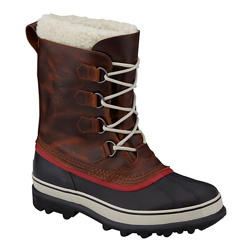 Ski Sorel Caribou Wool Mens Boots - This addition to the Caribou family is for the consumer that prefers the performance of a wool liner and a full grain leather upper. The Seam-sealed waterproof construction with full-grain leather upper keeps your feet bone dry. Removable 9mm felted wool InnerBoot is super comfy and sure to leave a smile on your face. Handcrafted waterproof vulcanized rubber shell with Sorel AeroTrac non-loading outsole is super durable and provides the traction you need. The Caribou Wool boot definitely lives up to the Sorel brand name. . Warranty: One Year, Waterproof: Yes, Material: Full-Grain Leather Upper, Type: Boot, Insulated: No, Sole Material: Sorel AutoTrac, Model Year: 2013, Product ID: 291320 - $119.95