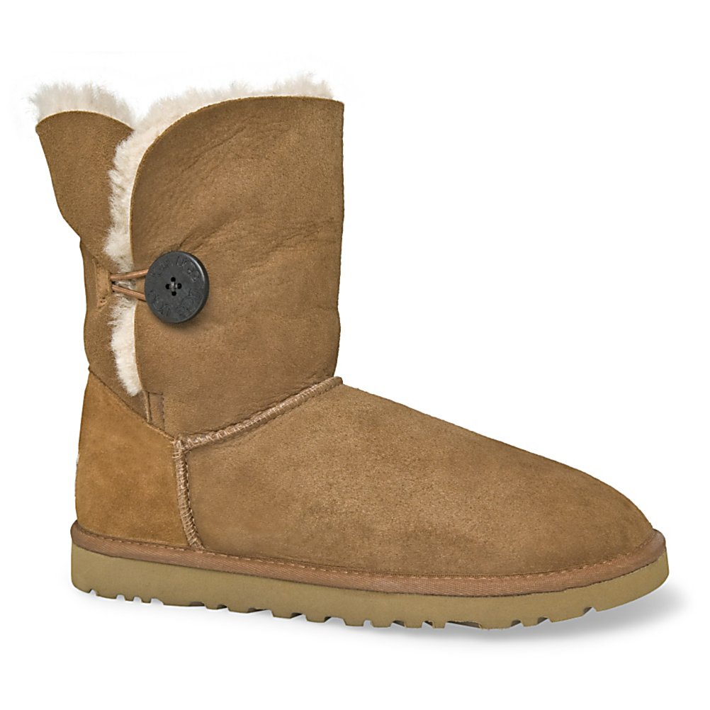 Ski Brand new and very stylish, the UGG Bailey Button is what every woman wants. This UGG can be worn as UGG classic short or UGG classic mini. The Bailey Button features a wooden UGG logo button with an elastic closure system to keep the boot snug on your foot.  This boot can be worn up or folded over for two completely different styles. Ideal for first cold summer evenings or great when lounging around the ski lodge. Nothing offers more comfort and warmth than the luxurious sheepskin of an original UGG boot.  Designed with an elastic closure and functional wood button that has been laser-etched with UGG logo,  Approximate boot shaft height 7 1/2 inches,  Cushy foam for extra comfort covered with a genuine sheepskin sock that naturally wicks away moisture,  Contains real fur from Sheep or Lamb,  GTIN: 0889830775872, Model Number: 5803 CHE 6, Product ID: 167372, Model Year: 2016, Sole Material: Light and flexible molded EVA, Insulated: No, Type: Boot, Material: Twinface Grade A Sheepskin, Waterproof: No, Warranty: One Year - $99.93