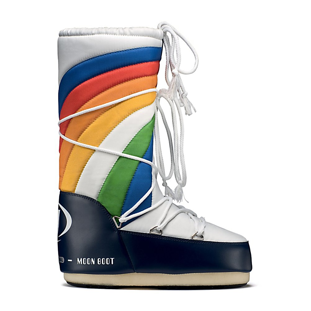 Ski Tecnica Rainbow MoonBoot Womens Boots - July 20th, 1969, Neil Armstrong, Michael Collins and Buzz Aldrin were getting ready to step down from the Apollo 11 spacecraft and into what future generations would consider an epic moment. Man's first landing on the moon. Then came the Moon Boot. Extremely successful right from it's launch, the Moon Boot's unmistakable rounded shape that is both ergonomic and practical plus the well-documented capacity to evolve and reinterpret new visual trends have made the Moon Boot an international symbol of creativity. Tecnica's Moon Boot features a polyester shell that keeps the elements out, a soft interior lining and full-length wraparound lacing. The outsole is synthetic to provide traction and stability. People love the Moon Boot for wear after skiing because of the incredible warmth and comfort they provide after a long day out on the slopes and during everyday winter activities. The bright colors really pop on dreary winter days - so add of splash of color to your winter with the Moon Boot! . Warranty: One Year, Waterproof: Yes, Material: Polyester Upper, Type: Boot, Insulated: No, Sole Material: Rubber, Model Year: 2013, Product ID: 245516, Model Number: 14016100 001 38, GTIN: 0883506947358 - $69.92