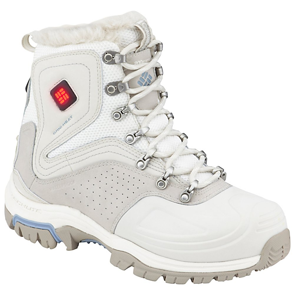 Ski Columbia Silcox 8 Electric Womens Boots - Columbia Silcox 8 Electric Womens Boots are built strong and designed to keep our feet warm and comfy on the chilliest winter days and nights. These boots are insulated and lined with Omni-Heat which has the technology to reflect and retain the warmth that your body generates so you help keep your own feet cozy. But if your own body isn't doing the job or you want some toasty toes, you'll be glad to know that these boots are equipped with Omni-Heat 3-Temperature Heating System. You can customize the heat level with three different settings and feel the warmth throughout the footbed. The exterior is made of durable and waterproof combination leather and the Omni-Grip Outsole provides excellent traction on a variety of surfaces. Comfy, cozy and cute with great support throughout, the Columbia Silcox 8 Electric Womens Boots keeps your toes warm on the coldest days. . Warranty: Lifetime, Waterproof: Yes, Material: Combination Leather, Type: Boot, Insulated: Yes, Sole Material: Omni-Grip Outsole, Model Year: 2013, Product ID: 276790, Model Number: BL1532 139 5.5 - $149.92
