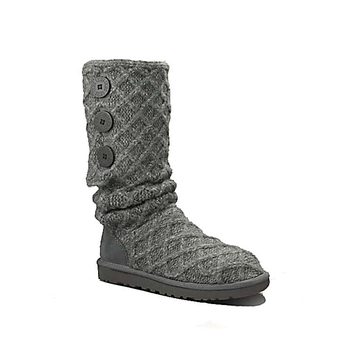 Ski The Ugg Lattice Cardy Boot captures the charm of a handmade chunky knit sleeve, the Lattice Cardy fuses the coziness of a favorite sweater with foundational UGG comfort features. A heathered Merino-wool blend boasts wooden logo buttons, creating a three-in-one boot that can be worn all the way up, unbuttoned and cuffed, or slouched down for a casual-cool feel. The Lattice Cardy Boot can sum up your look with leggings or straight jeans by adding a unique style to your after ski look.  Rubber sole,  Suede on back of heel,  Classic knit design,  Three wood buttons,  Warranty: Other, Waterproof: No, Material: Wool, Acrylic, Type: Boot, Insulated: Yes, Sole Material: Rubber, Model Year: 2016, Product ID: 284729, Model Number: 3066 CHRC 6.0, GTIN: 0737872225285 - $99.92