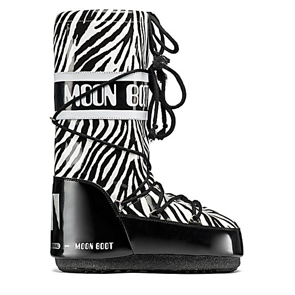 Ski Tecnica Moon Boot Savana Womens Boots - A slick style and comfort are keeping you looking good and feeling good when you wear the Tecnica Moon Boot Savana Boots. The waterproof exterior is made with Varnish PU so you can play in the puddles or walk through slush without the cold wetness seeping in. The zebra print ensures that you have an eye-catching and enviable pair of boots to make everyone jealous. They will compliment just about anything from a black dress you want to wear out for the evening to your go-to pair of black leggings. You'll fall in love with everything the Tecnica Moon Boot Savana Boots offer from its comfy polyester lining to the unique and stylish exterior. . Warranty: One Year, Waterproof: Yes, Material: Varnish PU with Animal Print, Type: Boot, Insulated: No, Sole Material: Rubber, Model Year: 2013, Product ID: 295872, Model Number: 14017100 001 38, GTIN: 0885315266385 - $69.92