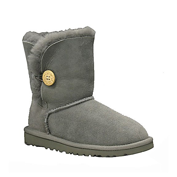 Ski UGG is the world's premier brand of authentic one of a kind footwear and remains the leader in high quality, innovation and style. Only the highest quality, grade A sheepskin is used and is evident in the plush fleece and smooth hides. The Australia sheepskin is naturally thermostatic and therefore will keep bare feet comfortable in temperatures as low as -30 degrees F to as high as 80 degrees F. Designed to be worn barefoot, this snug fitting, but not uncomfortable pair of boots have fleece footbeds that form to each individual foot. The sheepskin wicks away moisture, keeping your feet dry and also allows the air to circulate keeping your feet at a constant comfortable temperature. This pair of Bailey Button Boots by UGG is the perfect year round choice during the winter to summer months and for relaxing your feet after a long day on the slopes. Treat your feet to comfort, style and support every step that you take while indoors or outdoors.  Upper is made of sheepskin,  Suede heel guards,  Elastic closure with a functional wood button,  Wood button has been laser etched with the UGG logo,  Lining is made of genuine 17mm sheepskin,  Lining naturally wicks away moisture to keep your feet cozy and dry,  Sheepskin is naturally water resistant,  GTIN: 0889830961381, Model Number: 5991 GREY 02, Product ID: 190443, Model Year: 2016, Sole Material: Very light and flexible EVA molded, Insulated: Yes, Type: Boot, Material: Twinface sheepskin with suede heel guards and a woven logo on heel, Waterproof: No, Warranty: One Year - $140.00