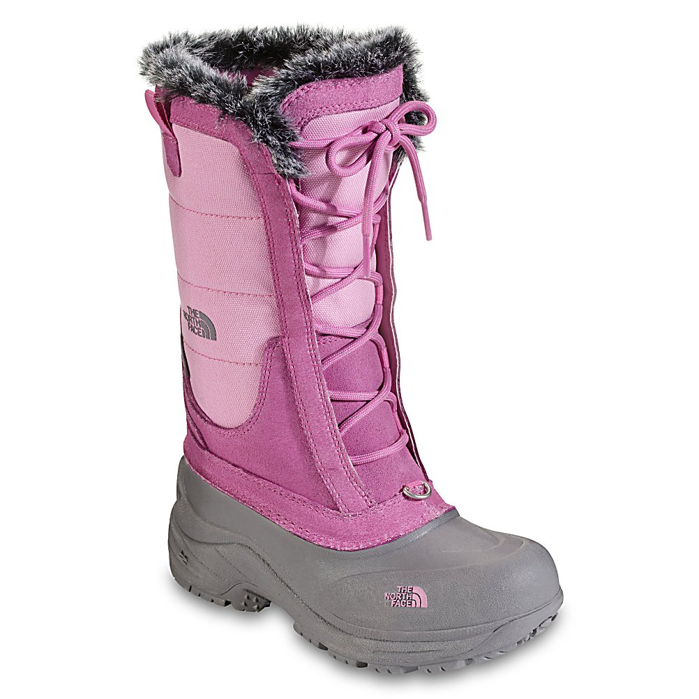 Ski The North Face Shellista Lace Girls Boots - The cute Begonia Pink boots look adorable on your little girl. These North Face Shellista Lace Boots are warm, waterproof and perfect for any winter weather activity whether it is walking around or stomping through the snow. Its soft Heatseeker Insulation offers the warmest feelings with minimal bulk. Cemented and seam-sealed you're guaranteed to have a totally waterproof boot on your feet and the durable TPR Shell Bottom and Outsole offer superior traction and protection from the elements. With its Faux Fur Trim, the North Face Shellista Lace Boots are the stylish and functional way for your girl head out this winter. Features: Durable TPR Shell Bottom and Outsole. Warranty: Lifetime, Waterproof: Yes, Material: Ballistic Mesh Upper with Waterproof Leather Overlays, Type: Boot, Insulated: Yes, Sole Material: TPR Shell Bottom and Outsole, Model Year: 2013, Product ID: 232202, Shipping Restriction: This item is not available for shipment outside of the United States. - $44.95