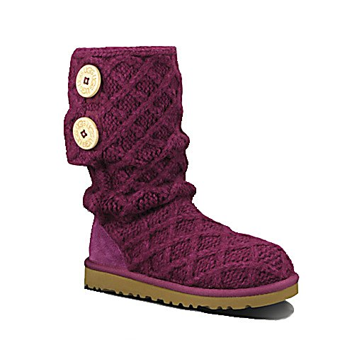 Ski UGG Australia Lattice Cardy Girls Boots - The Ugg Lattice Cardy Boot fits your girl with a cute and cozy homespun knit - just like the big girls. The Lattice Cardy combines a knit-blend upper which can be scrunched down or pulled up with laser-etched logo buttons and a cuffable, slouchable silhouette. The cushy, sheepskin-covered insoles soothe her feet as the toasty lattice knit hugs her calf for extreme warmth, keeping her outdoors playing and having fun. . Model Year: 2013, Product ID: 286568, Sole Material: Rubber, Insulated: No, Type: Boot, Material: Acrylic/wool/cotton/nylon knit upper, Waterproof: No, Warranty: Other - $120.00