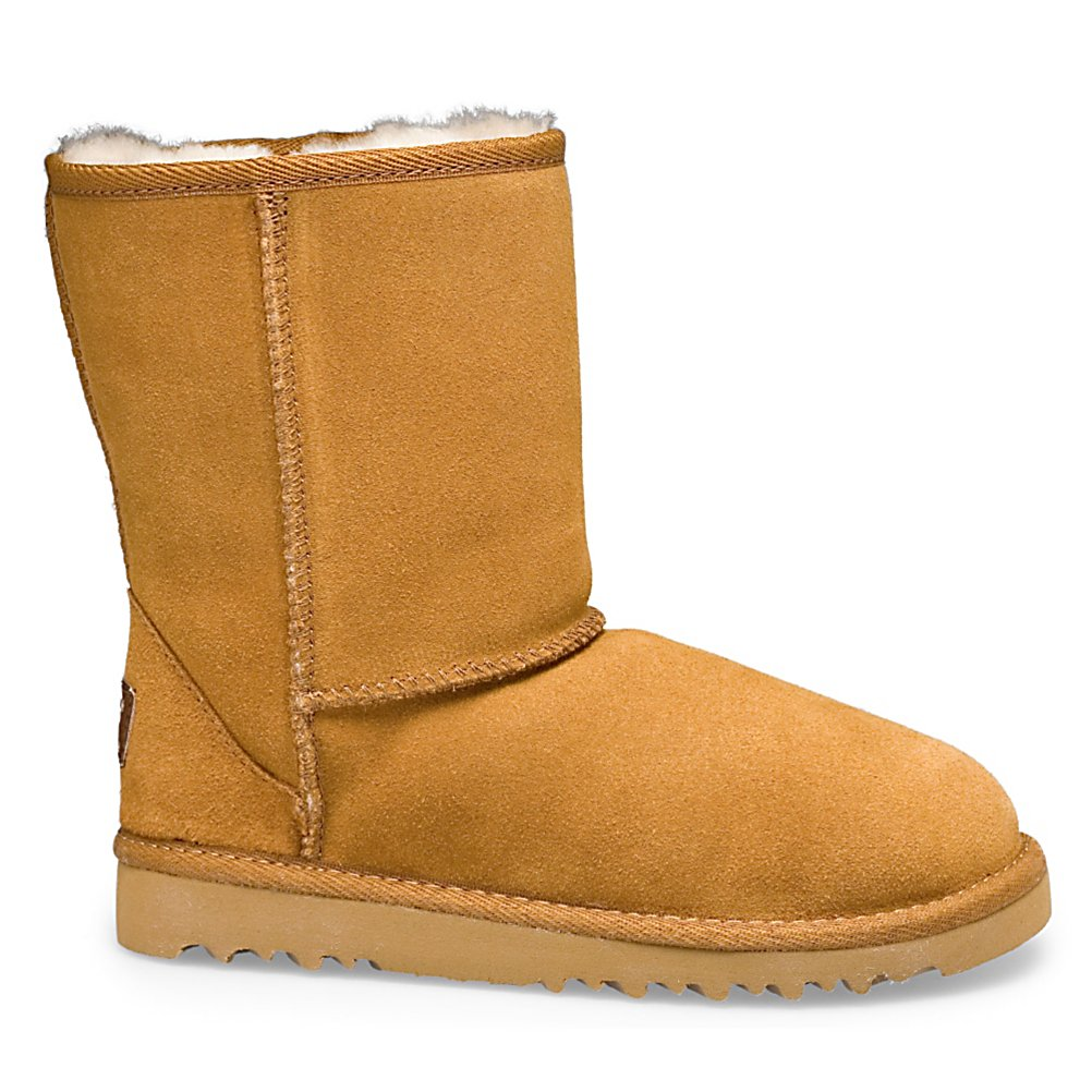 Ski Comfort and fit is what this pair of UGG boots for kid's will provide with each stride. This Classic Boot style is made from the highest quality, grade A sheepskin that makes the plush fleece and smooth hides. The sheepskin in naturally thermostatic and will keep your child's feet comfortable in temperatures as low as -30 degrees F to as high as 80 degrees F. The twin faced sheepskin is in its purest form. The skin side is soft, supple and delicate, the wool side offers comfort and insulation all year round. UGG is footwear that has been designed to be worn barefoot to maximize the benefits of the sheepskin for warmth while also fitting snug, but not with discomfort. The fleece footbeds also forms to each individual foot giving your child a custom fit with each step. This is the quintessential UGG Classic style for kid's that is easy to put on, and to take off, giving independence and becoming their personal favorite.  100% fine woolen sheepskin wicks moisture away to keep little feet dry and warm,  Sheepskin is the highest quality, grade A providing plush fleece and smooth hides,  Approx. boot shaft height: 6 in.,  Sheepskin is naturally water resistant,  Hand wash only, DO NOT machine wash,  Keep feet comfy in temperatures as low as -30 degrees F to as high as 80 degrees F,  GTIN: 0737872908553, Model Number: 5251 CHE 13, Product ID: 56480, Model Year: 2015, Sole Material: Very light and flexible EVA molded, Insulated: Yes, Type: Boot, Material: Twinface Sheepskin, Waterproof: No, Warranty: One Year - $69.77