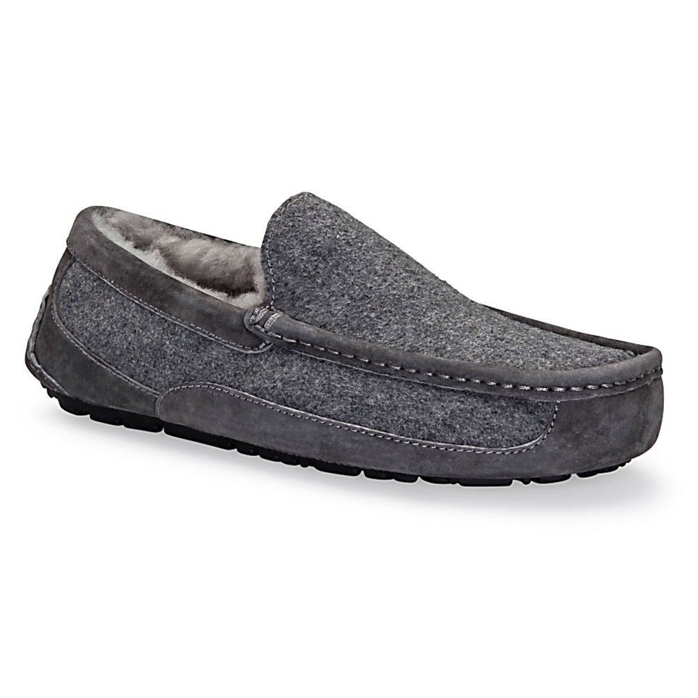 Entertainment UGG Australia Ascot Wool Mens Slippers - Wear it as a slipper or wear it as a shoe, the UGG Australia Ascot Wool Slipper features rich suede or leather material that is fully lined in genuine sheepskin with a reinforced heel and toe that is made for both the house and the street. The sheepskin lining will naturally breathe and will wick moisture away from your foot leaving your foot dry and comfortable. The outsole is constructed with molded rubber for better grip and flexibility making it usable outside. Durable and comfortable, the UGG Australia Ascot Wool Slipper will soon become your favorite. . GTIN: 0737872395155, Model Number: 3233 MTL 7.0, Product ID: 242582, Model Year: 2015, Sole Material: Rubber, Insulated: No, Type: Slipper, Material: Twinface. Suede or full grain leather uppers, Waterproof: No, Warranty: One Year - $79.93