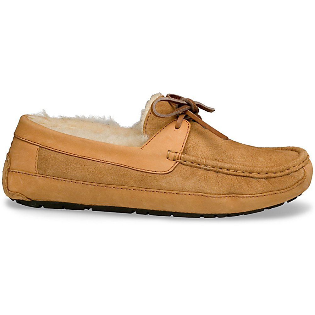Entertainment UGG Australia Byron Mens Slippers - Wanting comfort on your days off to relax around the house? Now you can have just that. This pair of UGG Australia Byron Slippers are a pair of sophisticated shoes made of leather and sheepskin with plush sheepskin lining. The sheepskin lining wicks away moisture naturally keeping your feet dry and insulated when needed. They are lightweight and cozy to keep your feet warm and comfortable and are a great choice for wearing around the house as a slipper, yet equally functional on the street as a shoe. The secret is the outsole construction that is made with molded rubber for better grip and flexibility. This pair of UGG Australia Byron slippers are finished off with leather lace detailing creating a versatile shoe that is both comfortable and refined for all of your relaxing days off, or to enjoy great time spent with the kids. . GTIN: 0737872904272, Model Number: 5102 CHE 08, Product ID: 56525, Model Year: 2014, Sole Material: Rubber, Insulated: No, Type: Slipper, Material: Twinface with Suede and full grain leather uppers, Waterproof: No, Warranty: One Year - $99.92