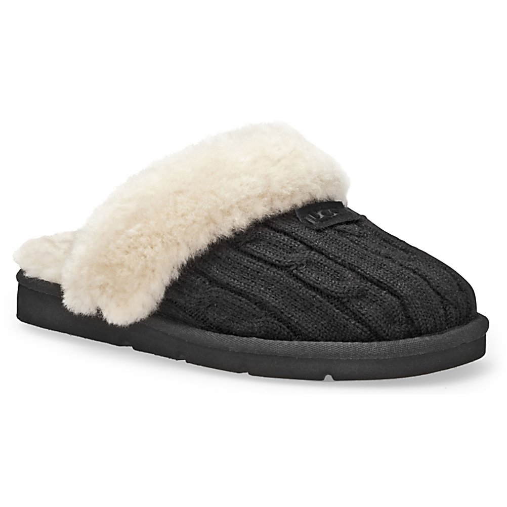 Entertainment UGG Australia Cozy Knit Womens Slippers - The Women's UGG Cozy Knit slippers combine your favorite sweater with the coziness of a slipper. They are fully lined in sheepskin and on a comfortable modeled rubber outsole. The Cozy Knit is this season's must have slipper. The rubber outsole on them makes them perfect for both indoor and outdoor use. They have been designed for you to wear barefoot to maximize the benefits of the sheepskin lining. They should fit snug but not uncomfortable as the slippers will give a little as the fleece footbeds form to your feet. The fleece on the Cozy Knit slippers wicks moisture away and allows air to circulate keeping your feet dry. Features: Ideal for both indoor and outdoor use. Warranty: One Year, Waterproof: No, Material: Sheepskin, Type: Slipper, Insulated: No, Sole Material: Rubber, Model Year: 2013, Product ID: 213209 - $120.00