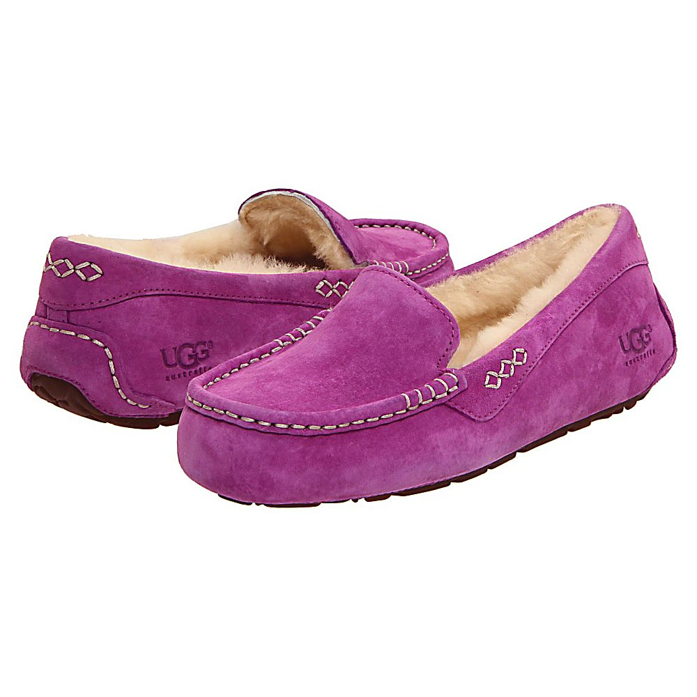 Entertainment Looking for that perfect, lounge around the house in ultimate comfort, slipper?  Well then you have to check out the UGG Ansley Womens Slippers.  The Ansley slipper has an outer fabric of soft suede.  This moccasin slipper is lined in plush genuine shearling, which is super warm and naturally wicks away moisture.  To top it all off, the Ansley Slipper is finished with a molded rubber sole, so if need be, you can wear it outside too. This slipper does have a narrower toe box and does not come in half sizes, so if you are looking for a half size, go a size smaller.  This is because the shearling will mat down over time and give you more room in the slipper.  Did we mention that these slippers are very durable and long lasting? The UGG Womens Ansley Slipper is the ultimate way to feel cozy and luxurious while around the house or traveling out, so why haven't you bought one already?  Rubber Sole,  Suede Upper,  Genuine Shearling Lining,  Not Available in 1/2 Sizes,  Warranty: One Year, Waterproof: No, Material: Suede Upper, Type: Slipper, Insulated: Yes, Sole Material: Rubber, Model Year: 2016, Product ID: 252037, Model Number: 3312 CCFL 07, GTIN: 0737872416355 - $99.95