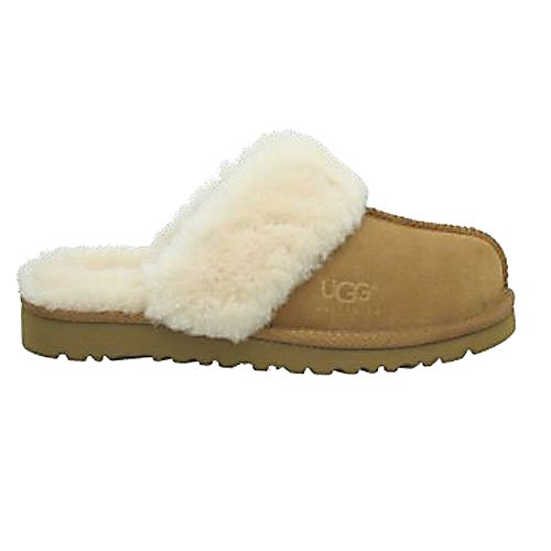 Entertainment UGG Australia Cozy Girls Slippers - Cute, comfy and cozy. The Cozy slippers for girls by Ugg are the ideal slippers to keep your little girl's toes as happy as ever. This is the kid-sized version of the popular Ugg Cozy slippers. And just like the adult version, they are made with the same great features. The Cozy slippers are fully lined in genuine sheepskin as well as feature a molded EVA outsole that provides both comfort and durability. Because of the makeup of this slipper, it can be worn both inside and out. Take a quick trip to the market with mom and the Cozy slippers will do the trick. Or young girls will stay cute and cozy just while lounging around the house on a winter's day. The beautiful cuff detailing on the slippers provide a classy and sophisticated style while marinating pure comfort. . Warranty: One Year, Waterproof: No, Material: Soft suede and twinface, Type: Slipper, Insulated: Yes, Sole Material: Classic Lightweight EVA, Model Year: 2013, Product ID: 207198 - $70.00