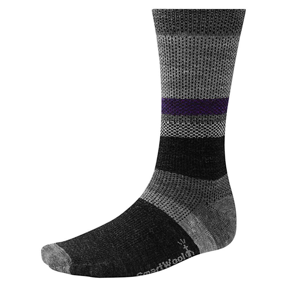 Ski SmartWool Distressed Stripe Socks - Comfortable and warm, the SmartWool Distressed Stripe Socks are a great way to combat the chill of winter. Featuring WOW Technology in the high impact heel and foot zones, you'll have a pair of very durable and comfortable socks on your feet. They are super soft and feature strategic mesh zones for maximum ventilation to keep your feet dry when you're out and about. A supportive arch and ankle brace will help keep the socks in place so that they feel comfortable on your feet and in your boot. Cool earth-tone colors add to the all day comforts when you wear the SmartWool Distressed Stripe Socks. . Warranty: Other, Waterproof: No, Material: 73% Merino Wool, 25% Nylon, 2% Elastane, Insulated: No, Model Year: 2013, Product ID: 296119 - $19.95