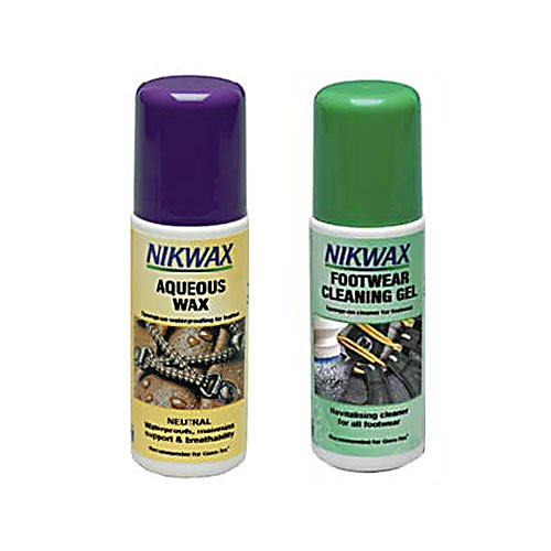 Ski Nikwax Aqueous Footwear Waterproof and Cleaning Kit - Prevent water damage to your shoes with Nikwax Aqueous Kit. This Nikwax kit includes Aqueous wax and Footwear Cleaning Gel. Aqueous provides sponge-on waterproofing for full-grain leather without softening. The Footwear Cleaning Gel cleans all types of leisure, lifestyle and sports shoes and boots. . Model Year: 2013, Product ID: 174208 - $14.95