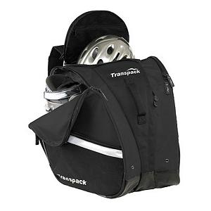 Ski Transpack TRV Pro Ski Boot Bag - The Transpack TRV Pro boot bag is the largest bag that Transpack makes. Constructed from extremely durable, water resistant coated 1680 ballistic nylon and heavy duty buckles, it will provide many years of service under the harshest conditions. Its ergonomic design makes it comfortable and easy to carry. Adjustable waist belt and sternum strap provide solid support and stability. Outer compartments hold one pair of ski or snowboard boots, and a large middle compartment is big enough for a helmet, gloves, goggles and anything else needed for a day at the slopes. The Transpack TRV Pro boot bag also has an internal mesh and fleece pocket for goggles, and a zippered pocket for keys, cash, and other personal items. Zippered side pockets can hold a magazine, folded newspaper, or more skiing accessories. Boot compartment grommets allow drainage of water. Shoulder straps and waist belt can be stowed away in a zippered pocket when checking during air travel. Features: Adjustable waist belt and sternum strap for stability, Stow-away compartment for shoulder straps and waist belt, Internal zipper pocket for personal items, Fleece and mesh goggle pocket inside top lid, Zipper side pockets with reflective stripe, Front vertical zipper provides extra access to large central compartment, Comfort grip rubber top handle and padded foam front grip handle, Double locking, self repairing nylon coil zippers, Isosceles Storage System, Water resistant coated 1680 ballistic nylon. Model Year: 2014, Product ID: 248843, Model Number: 1121-01, GTIN: 0607799001081, Separate Boot Compartments: No, Helmet Storage: Yes, Backpack Straps: Yes, Gear Volume: 54L, ID Tag: No, Size Dimensions: 15in x 19in x 19in, Exterior Pockets: No, Weight of Bag: 3.9 lbs, Material: Water Resistant Coated 1680 Ballistic Nylon, Category: Boot Bags, Goggle/Sunglasses Pocket: Yes, Warranty: One Year - $119.99