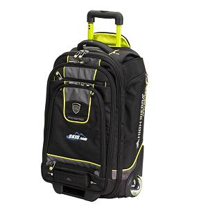 Ski High Sierra Skis.com Wheeled Carry On Ski Boot Bag - With the High Sierra Carry-On Wheeled Ski Boot Bag you'll have plenty of room for packing and a lightweight piece of luggage that you can carry right on to the airplane. Weighing in at only 8 pounds that expands an extra 2.5 inches and built with Special High-Density Foam Structure you'll have a stylish and functional bag that is sturdy. Inside there are Hold-Down Straps and a Zippered Mesh Pocket to secure all your belongings and on the outside there is an Upper and Lower Front Pocket to store anything from tickets, to passports to Sky Mall magazines. Travel through the airport foot traffic with ease with the Inline Skate-Style Wheels and Recessed Telescoping Aluminum Handle. Protecting your luggage from the wears-and-tears of traveling are Durable Corner Guards and a Kick Plate between wheel housings. More space, more storage and more functionality, the High Sierra Carry-On Wheeled Ski Boot Bag takes some of the stress away from traveling leaving you more time to enjoy it! Please note these bags have the skis.com logo on them. Features: Inline skate-style wheels, in protective corner-mounted housings with a unique integrated bridge that keep the bag rolling true., Recessed, telescoping lightweight aluminum handle system with locking mechanism.. Category: Boot Bags, Material: 1680-Denier Ballistic Duralite, Size Dimensions: 22 x 14 x 9in, ID Tag: No, Side Pocket: Yes, Backpack Straps: Yes, Helmet Storage: Yes, Model Year: 2013, Product ID: 281976 - $179.95