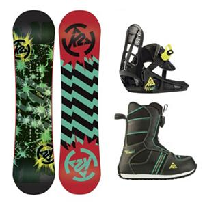 Snowboard K2 Mini Turbo Grom Boys Snowboard Package 2013 - Get them stoked early with the K2 Mini Turbo Grom Package. Getting kids up on the hill warm and happy is always the first step to a life of snowboarding. The Mini Turbo Grom Pack is the first setup designed with this in mind. From standout innovations like the Noodle board construction to the little details like a loop on the toe of the boot for the leash to attach, it's all designed to be easy to use and enhance the day of snow-sliding fun for both kids and parents. . Recommended Use: All-Mountain, Snowboard Rocker Profile: Rocker, Package Type: Board, Boots, and Bindings, Skill Range: Beginner - Advanced Intermediate, Model Year: 2013, Product ID: 234956, Shipping Restriction: This item is not available for shipment outside of the United States., Gender: Boys, Skill Level: Beginner - $219.99