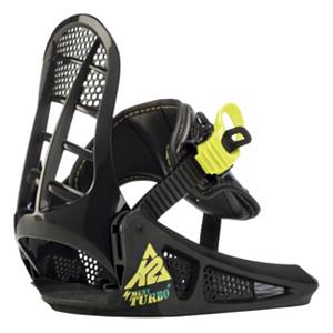 Snowboard K2 Mini Turbo Kids Snowboard Bindings - Kids and parents alike love the simplicity, ease-of-use, growth and value of the K2 Mini Turbo snowboard bindings. The combination of a single supportive strap that captures the entire boot and EZ Feed ratchets means less fumbling with gear and more time on the slopes. Kids feet grow, why shouldn't their bindings? The integrated chassis/highback is easily adjustable to three different lengths. K2's patent pending EZ Mount system secures the bindings securely to any standard 4-hole pattern without sacrificing stance-angle adjustability. . Strap Material: 3D shaping with EVA padding, Flex: Soft, HighBack: Grom Highback, Buckles: EZ Feed, Warranty: One Year, Chassis Material: Grom Chassis, Binding Compatibility: Standard 4 Hole, Skill Range: Beginner - Advanced Intermediate, Model Year: 2013, Product ID: 234748, Shipping Restriction: This item is not available for shipment outside of the United States., Gender: Kids, Skill Level: Beginner, Model Number: B11522191, GTIN: 0714636797950, Standard 4 Hole Compatible: Yes, Traditional Burton (3D) Compatible: No, ICS Channel Compatible: No, Canted Footbed: No, Quick Entry: Yes, Toe Strap Style: None, Recommended Use: All-Mountain - $49.96