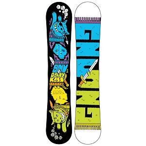 Snowboard Gnu Danny Kass Mini BTX Boys Snowboard - The Gun Danny Kass Mini BTX snowboard is for the kids who really know what shredding means. Features Banana technology that puts rocker between your feet, control is balanced in the center, and the catch free ends float and climb through light transitions. Also features Magnetraction which gives your little shredder amazing control whether they are riding ice or pow and the twin shape allows them to ride equally well in both directions. Made with the Mervin A.5 woodcore which is lightweight and strong and offer an even flex. . Actual Turn Radius @ Specified Length: 7.5m(@135cm), Base Name: CX2500 Base, Core Name: A.5 Sustainable Core, Recommended Use: All-Mountain Freestyle, Waist Width: 228mm(@135cm), Stance Width: 17-22in, Stance Setback: Centered, Special Features: Twin Geometries, Rocker Profile: Rocker, Shape: Twin, Flex: Medium, Pipe Oriented: No, Board Width: Regular, Rocker Type: BTX Banana Tech, Core Material: Wood, Construction Type: Sidewall Construction, Hole Pattern: Standard 4 Hole, Magnatraction: Yes, Base Material: Extruded P-tex, Warranty: One Year, Skill Range: Beginner - Advanced Intermediate, Model Year: 2013, Product ID: 270934, Shipping Restriction: This item is not available for shipment outside of the United States., Gender: Boys, Skill Level: Beginner - $219.95