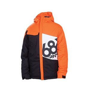 Snowboard The 686 Mannual Iconic Snowboard Jacket represents - in large view - the coolest brand out there! The Iconic Jacket speaks volumes in looks and performance. This jacket sets you apart from the other boys - you're on your own taking it to the next level. Be prepared to be warm and protected as you can move with freedom of ease. Your covered from the top of your head to your bottom - to complete the warmth factor - mix and match with your favorite 686 Snowboard Pants and you're good to go. Wearing 686 on your left front body in a large icon logo screen print - screams originality and fun.  Right chest pocket,  Exposed vision zipper hand pockets,  Adjustable powder skirt,  Youth Evolution sleeve length extension system,  Waterproof Zippers: No, Cinch Cord Bottom: No, Insulator: No, Warmth Factor: Warmer, How Does This Fit?: True To Size, Wrist Gaiter: No, Cuff Type: Velcro, Breathability: Low Breathability (< 5,000g), Waterproof: Water Resistant (< 5,000mm), Insulation Type: Synthetic, Length: Medium, Jacket Fit: Regular, Type: Insulated, Race: No, Battery Heated: No, Use: Snowboard, Warranty: Other, Hood: Yes, Powder Skirt: Yes, Goggle/Sunglasses Pocket: No, Electronics Pocket: No, Pockets: 4-5, Pit Zip Venting: No, Hood Type: Fixed, Breathability Rating: 5,000g, Waterproof Rating: 5,000mm, Taped Seams: Critically Taped, Insulation Weight: 260g, Exterior Material: Nylon, Model Year: 2013, Product ID: 292475, Model Number: L2W502 ORG S, GTIN: 0883510199514 - $49.93