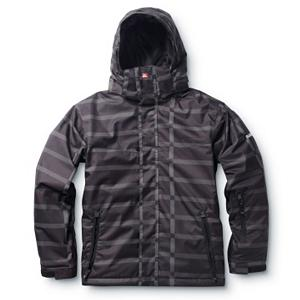 Snowboard Quiksilver Last Ride Boys Snowboard Jacket - The Quiksilver Last Ride Kids Snowboard Jacket is made to keep you child feeling good so they can learn the art of riding without thinking about how cold it is outside. This jacket offers a very comfortable closed mesh and taffeta lining to help keep them cozy and warm. There is plenty of insulation throughout the Last Ride Jacket designed to trap the heat inside so that the cold doesn't chill them to the bone. For the times when the winds are really howling they can lift up the hood for added protection. Whether it's the first run or the last ride, your child will feel comfy, warm and dry inside the Quiksilver Last Ride Snowboard Jacket. . Exterior Material: 51% Recycled Polyester, 49% Polyester Printed Melange Herringbone, Insulation Weight: 120 Grams, Taped Seams: None, Waterproof Rating: 5,000mm, Breathability Rating: 5,000g, Hood Type: Fixed, Pit Zip Venting: No, Pockets: 1-3, Electronics Pocket: No, Goggle/Sunglasses Pocket: No, Powder Skirt: Yes, Hood: Yes, Warranty: One Year, Use: Snowboard, Battery Heated: No, Race: No, Type: Insulated, Cut: Regular, Length: Medium, Insulation Type: Synthetic, Waterproof: Moderately Waterproof (5000mm-19,999mm), Breathability: Moderate Breathability (4000g-8999g), Cuff Type: Velcro, Wrist Gaiter: No, Waterproof Zippers: No, Cinch Cord Bottom: Yes, Insulator: No, Model Year: 2012, Product ID: 296487 - $39.95