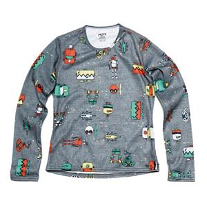 Snowboard Hot Chillys Skins Print Crewneck Kids Long Underwear Top - The Hot Chillys Skin Print Crewneck Long Underwear is made with microfiber MTF, Moisture Transfer Fibers keeping you comfortable and dry. The polyester yarns blend for softness and warmth. The soft, cottony-feeling garment is a relaxed fit with anatomical design to allow for freedom of movement. Hot Chillys, produces long underwear for kids and teens as they are a leader in performance apparel in the industry. Hot Chillys has been manufacturing long underwear for more than a decade with a strong focus on kids, keeping them toasty and protected. . Warranty: Lifetime, Model Year: 2013, Product ID: 269109, Neck: Crew, Type: Top, Material: Synthetic, Fit: Loose, Weight: Light - $35.00