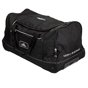 Camp and Hike High Sierra Skis.com 28in Wheeled Cargo Duffle Bag 2014 - Check out the 28in Wheeled Cargo Duffel by High Sierra and see how much you can haul off on your next wintertime adventure. A large main compartment with U-Shaped opening offers an easy way to pack and unload your clothes, gear, etc. and two large side compartments give you the room to carry your ski or snowboard boots. A zippered front accessory pocket holds hats, gloves and tools. No one wants to have to carry all this stuff though and pinch or hurt your hands which is why High Sierra outfitted this duffel with a neoprene-padded handle wrap around the webbing handles. Going through the airport? A recessing telescoping handle and inline skate-style wheels make it easy and corner protectors offer protection against any unexpected run-ins with corners or chairs. There's plenty of room for anything you want to carry with the High Sierra 28in Wheeled Cargo Duffel. Please note these bags have the skis.com logo on them. Features: Recessed Telescoping Handle and Inline Skate Style Wheels, Materials: Diamond-Ripstop Duralite, 600-Denier Duralite. Warranty: One Year, Material: Diamond-Ripstop Duralite, 600-Denier Duralite, Recommended Use: Travel, Airplane Carry-On: No, Exterior Pockets: Yes, Size Dimensions: 28x14x14 in, ID Tag: No, Interior Mesh Pocket: No, Side Pocket: Yes, Gear Volume: 90L, Model Year: 2014, Product ID: 249107 - $129.99