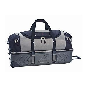 Camp and Hike Athalon Sport Bags 21in Molded Wheeling Duffle Bag - The Athalon 21in Molded Wheeling Duffel bag offers the ultimate in flexible and versatile organization for your busy lifestyle. When zipped together, the carry-on sized bag features a hard-molded lower compartment with a soft and flexible, duffel-style upper compartment. This over/under sectional design allows for easy organization and separation of gear--allowing you to keep vulnerable items protected in the hard-bodied lower portion of the bag, and laundry, outwear, and other flexible items in the soft bodied upper section. The complete bag is easy to tote with a hide-away telescoping pull handle and sturdy in-line skate wheels with sealed ball-bearings for good handling as well as a grab handle on the top. Features: Over/under section separates boots, equipment and laundry from the main section, Sealed ball-bearing in-line skate wheels for easy handling. Model Year: 2012, Product ID: 249306 - $139.98