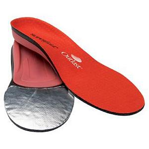 Ski Super Feet Red Hot Footbeds / Insoles - Providing support, shock absorption, power transmission and the edge control that skiers need when shredding down the slopes, the Superfeet Red Hot is specifically engineered to fit the shape of skiers feet and winter footwear. Equipped with Rebound Foam, a high-density hybrid EVA foam offering maximum forefoot flex and rearfoot stability and alignment, you'll be performing at your peak potential with every double black diamond trail you conquer. This foam will also resist moisture. The Superfeet Red Hot is outfitted with Outlast Adaptive Comfort top cover which works to regulate the temperature inside your footwear by absorbing excess body heat, then dissipating it as the foot cools. Outlast technology reduces chill or overheating so that your day on the slopes is comfortable and your feet stay warm and dry. There's a Thermo-Foil layer in the forefoot which acts as a reflective barrier that helps deflect cold air. The AirWeave layer directly above this creates a neutral air space, trapping warmth in the forefoot and increasing air flow when pressure is added. Ideal for feet with medium-to-high arches, the Superfeet Red Hot will increase your comfort level and your performance potential whether you're a boarder or a skier. Also available as a women's specific model - Hot Pink . Model Year: 2013, Product ID: 207711 - $49.95