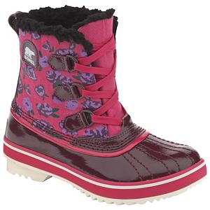 Ski Sorel Youth Tivoli Girls Boots - Inspired by the classic design of the 1964 Pac boot Sorel offers the Youth Tivoli in a lighter and scaled down version for little girls. It has the look and feel of a sneaker for greater versatility but all of the benefits of a boot. Cozy Thinsulate insulation provides plenty of exceptional warmth on the coldest of days while the full length soft fleece lining offers all day comfort. The molded rubber outsole allows for a flexible surface with excellent traction that can easily overcome uncertain weather changes. The water resistant upper and shell are crafted in fun colors and patterns that will be sure to delight and tickle any girl but the technical refinement is what is most pleasing to moms. The Youth Tivoli functions in a modern world blending the two seamlessly and effortlessly. . Warranty: One Year, Waterproof: Yes, Material: Water Resistant Upper and Shell on Molded Rubber Outsole, Type: Boot, Insulated: Yes, Sole Material: Molded Rubber Outsole, Model Year: 2012, Product ID: 242741, Model Number: NY1832 508 1.0, GTIN: 0803298545761 - $29.91