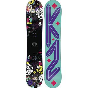 Snowboard K2 Kandi Girls Snowboard - The K2 Kandi wants you to have sweet time on slopes all day everyday. The K2 Kandi is a lightweight progression snowboard for the inspiring girls on the rise. Catch Free Rocker baseline combined with Hypritech construction allows girls to make new turns and land new tricks with ease. With a soft centered flex makes this a very forgiving snowboard that allows girls to progress their skills while still having fun with their friends . Actual Turn Radius @ Specified Length: 7.3m(@137cm), Base Name: 2000 Extruded, Core Name: WH1, Recommended Use: All-Mountain Freestyle, Waist Width: 228mm(@137cm), Stance Width: 15-18in, Stance Setback: Setback 3/4in, Special Features: Hybridism Construction, Rocker Profile: Rocker, Shape: Directional Twin, Flex: Soft, Pipe Oriented: No, Board Width: Regular, Rocker Type: Catch Free Rocker, Core Material: Wood, Construction Type: Sidewall Construction, Hole Pattern: Standard 4 Hole, Magnatraction: No, Base Material: Extruded P-tex, Warranty: One Year, Skill Range: Beginner - Advanced Intermediate, Model Year: 2013, Product ID: 281705, Shipping Restriction: This item is not available for shipment outside of the United States., Gender: Girls, Skill Level: Beginner - $129.95