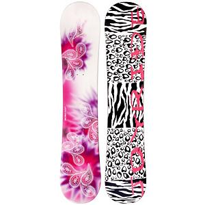 Snowboard JoyRide Drops Pink Rocker Girls Snowboard - Your little girl is growing up, its no longer I want dolls, make-up, and tea parties. Her focus as switched to snowboarding and that means she needs a snowboard. The Drops Pink Rocker snowboard is perfect for any girl learning to snowboard. Make easy turns with the Drops Pink Rocker Cap construction and Rocker profile. Cap or sandwich construction makes the board lightweight and easy to turn. Rocker is the perfect snowboard profile for any beginner. With its pre-flexed shaped riders are already given an advantage. For freestyle riders rocker allows for easy turning and effortless float in deeper snow conditions. The Drops Pink Rocker snowboard is going to be your daughters new best friend on the mountain. . Core Material: Wood, Construction Type: Cap Construction, Base Material: Extruded P-tex, Warranty: One Year, Skill Level: Beginner, Gender: Girls, Product ID: 297126, Skill Range: Beginner - Intermediate, Hole Pattern: Standard 4 Hole, Board Width: Regular, Pipe Oriented: No, Flex: Medium, Shape: Directional Twin, Rocker Profile: Rocker, Recommended Use: All-Mountain Freestyle, Magnatraction: No - $129.99