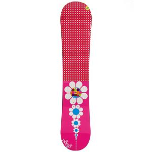 Snowboard GIDGET Flower Girls Snowboard - Your little girl is growing up, she no longer wants to play with dolls, make-up, and have tea parties. Her focus as switched to snowboarding and that means she needs a snowboard. The Gidget Flower snowboard is the perfect board for any young rider looking to avoid rentals and want to own their very own board. Cap or sandwich construction makes the board lightweight and easy to turn, while maintaining an edge hold. The Flame snowboard has a camber profile gives the riders more control, easier to make toe-side and heel-side turns which are the basics of snowboarding. Camber provides amazing edge hold on icy and all weather conditions. For freestyle riders Camber allows for an increase in the snowboards ability to ollie. If your daughter is looking to get out this winter and explore your local mountain, the Gidget Flower snowboard has what you need for your kid to have a blast on the hill. . Rocker Profile: Camber, Flex: Medium, Core Material: Wood, Construction Type: Cap Construction, Hole Pattern: Standard 4 Hole, Base Material: Extruded P-tex, Warranty: One Year, Skill Range: Beginner - Intermediate, Product ID: 297149, Gender: Girls, Skill Level: Beginner, Board Width: Regular, Pipe Oriented: No, Shape: Directional Twin, Recommended Use: All-Mountain Freestyle - $99.99